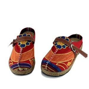 Image 3 - Veowalk colorido arco íris feminino casual linho de malha artesanal mulas chinelos retro verão senhoras casuais lona conforto sapatos