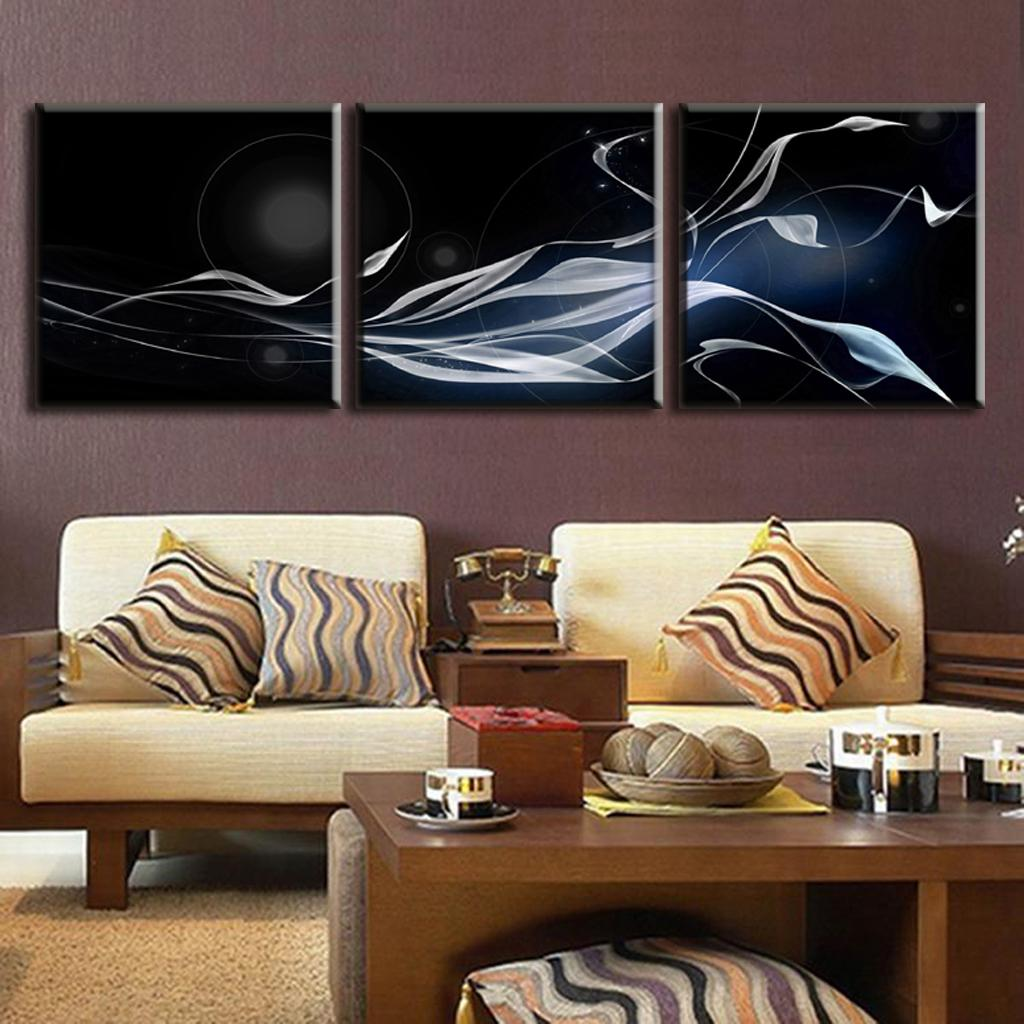 3 pcsset discount framed painting modern abstract oil painting grey scarf in black abstract - Wholesale Art Frames