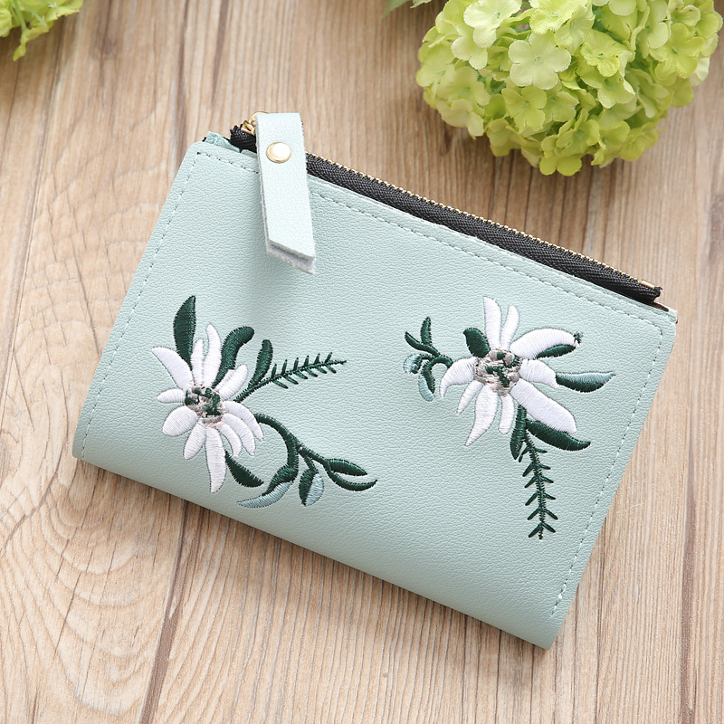 New Embroidery Short Wallet PU Leather Wallets Female Floral Hasp Coin Purse Zipper Bag Card Holders Mini Wallet
