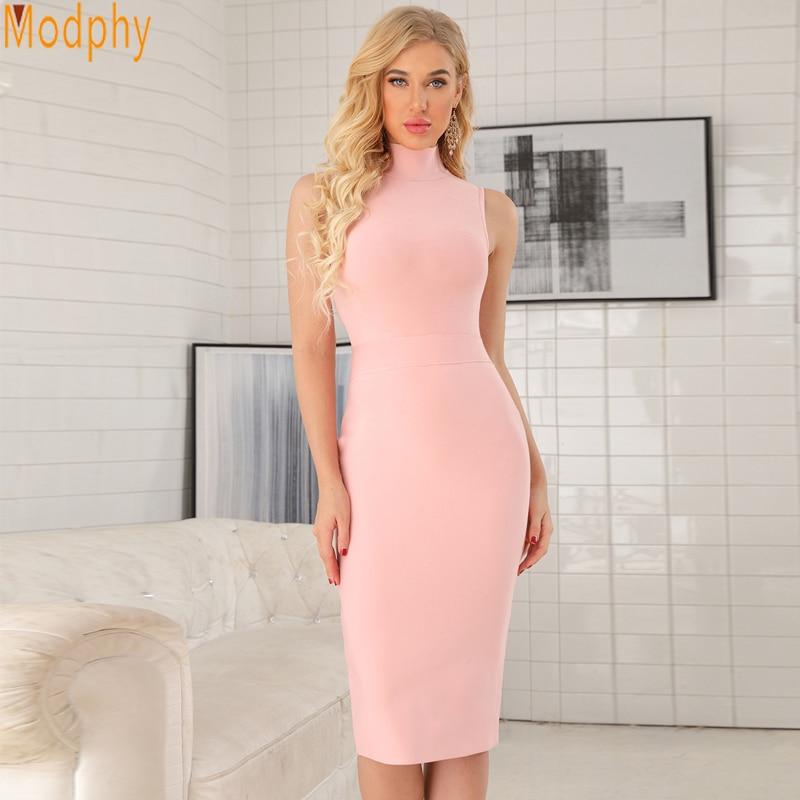 2018 Long Sexy Dress High Collar Women Summer Rayon Sleeveless Pink Long Midi Elastic Bandage Lady