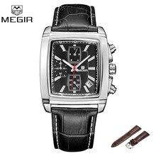 Megir 2028 Мода Повседневная Военная Хронограф Кварцевые Часы Мужчины Роскошные Водонепроницаемый наручные часы мужчины Relogio Masculino