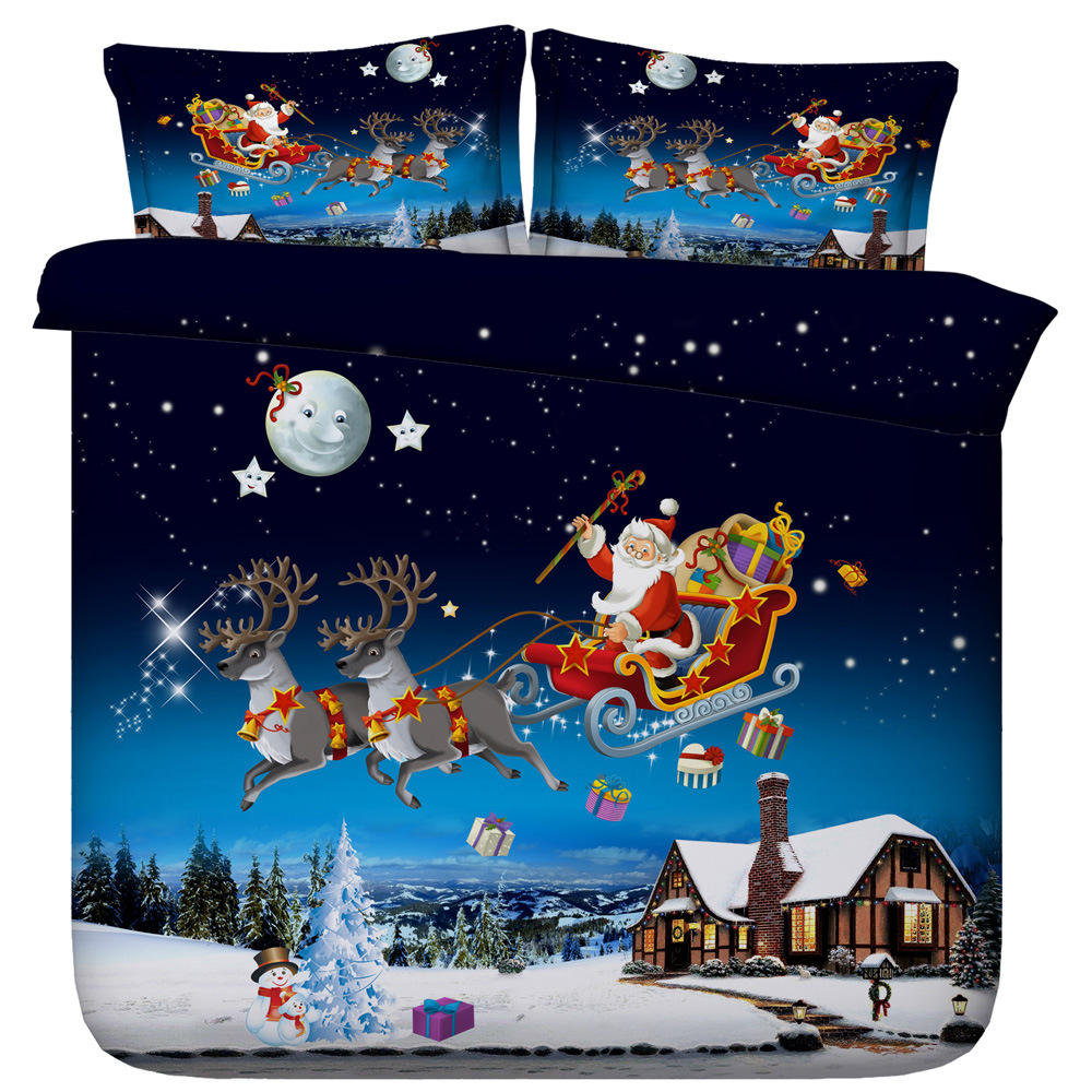 Duvet Cover Christmas Santa Claus send gifts 3pcs British Style for girlfriends Family student dormitory Quilt cover pillowcaseDuvet Cover Christmas Santa Claus send gifts 3pcs British Style for girlfriends Family student dormitory Quilt cover pillowcase