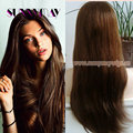 Natural Straight Mongolian Virgin Hair #4 Dark Brown Color Silk Base Full Lace Wig Bleached Knots With Baby Hair