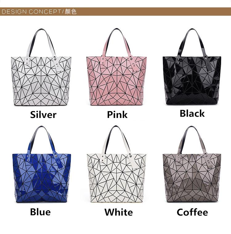 WSYUTUO Handbag Female Folded Ladies Geometric Plaid Bag Fashion Casual Tote Women Handbag Shoulder Bag 8