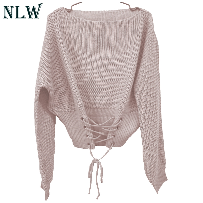 NLW Lace Up Crop Casual Women Sweater 19 Autumn Winter Knitted Pullovers Long Sleeve O Neck Loose Jumper Top Bandage Sweater 15