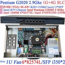МПК 1U стандартный маршрутизатор шасси с 6*1000 М 82574L Гигабитные сетевые контроллеры 2 * i350 SFP порты Intel Pentium G2020 2.9 ГГц 1 Г RAM 4 Г SLC