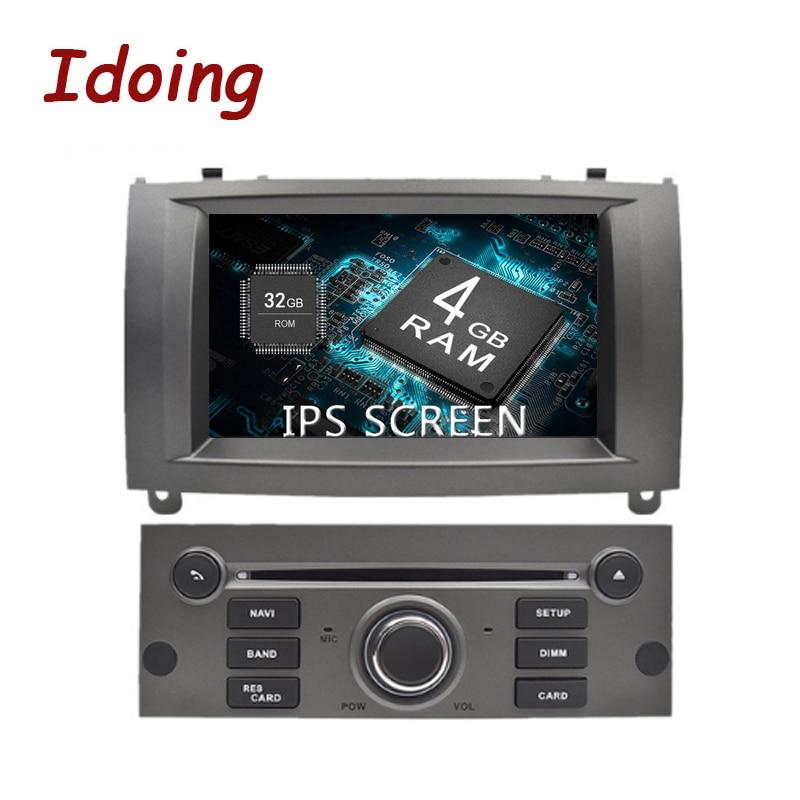 Idoing 71Din 4G+32G 8Core Car Radio GPS Android 8.0 Multimidia For Peugeot 407 2004 2005 2006 2007 2008 2009 GPS Navigation gps магнитолу 1din