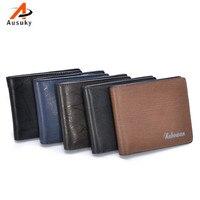 Genuine Cowhide Men Wallets PU Leather Wallet Zipper Wallet Men Luxury Male Short Coin Purse Small