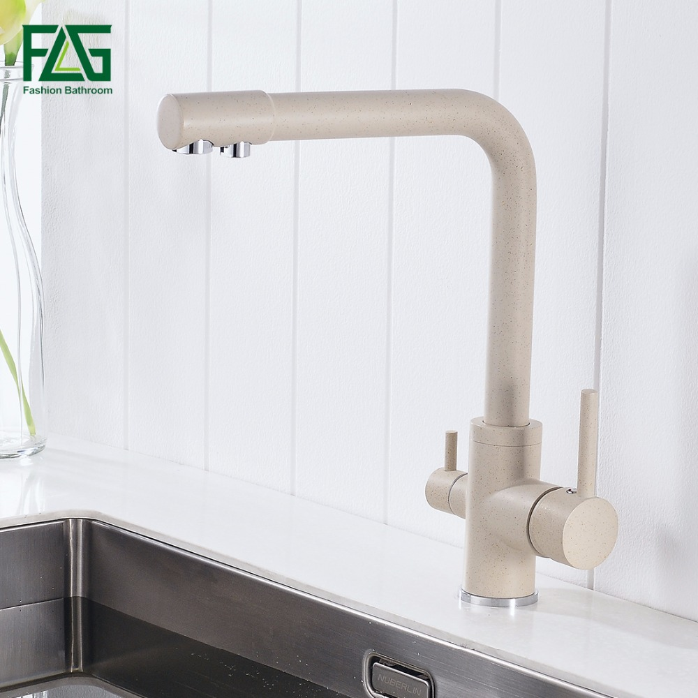 FLG 100% Brass Marble Painting Swivel Drinking Water Faucet 3 Way Water Filter Purifier Kitchen Faucets For Sinks Taps 242 33K