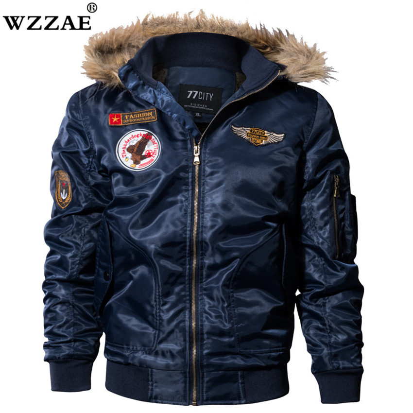 2018 New US Air Force Airborne Tactical Bomber Jackets Men Hooded Fur Collar Military Pilot Jacket Winter Warm Army Flight Coats