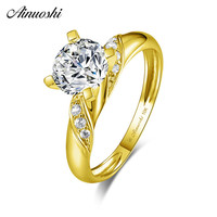 AINUOSHI Trendy 14K Solid Yellow Gold Round Ring 7mm SONA Diamond Twisted Stripe Band Anillo Bague Wedding Engagement Women Ring