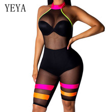 YEYA Women Sexy Off Shoulder Sleeveless Bodycon Bodysuits Elegant Open Back Hollow Out Transparent Mesh Jumpsuits Plus Size XXL plus open shoulder sweatshirt