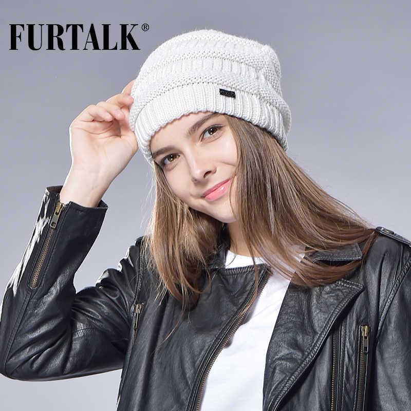 Gorro de lã de inverno gorro de lã de inverno para mulheres inverno de malha gorro malhado quente senhoras skullies bonés feminino chapéu de meia de lã