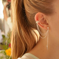 Fashion Multilayer Alloy Leaf Charms Chain Tassel Cuff Long Hoop Earrings For Women Wedding /Party Brand Bride Jewelry Punk Rock