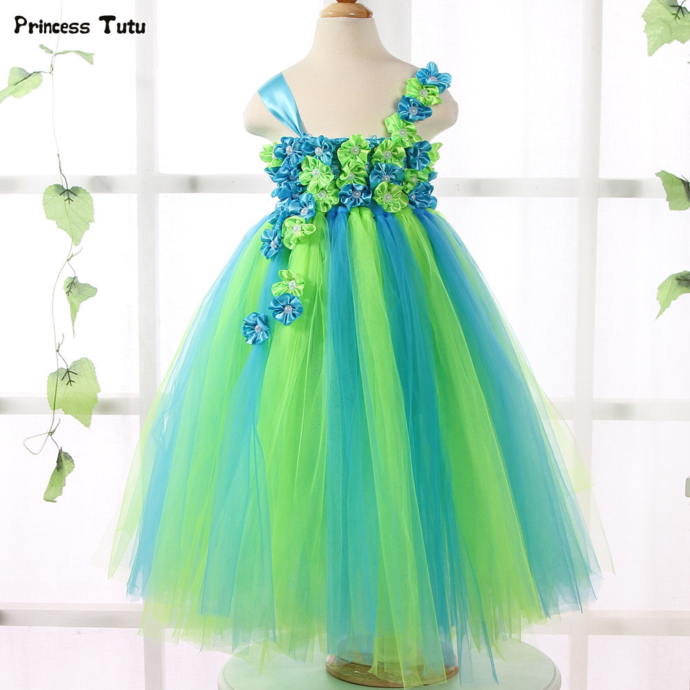 купить Green and Blue Flower Girl Tutu Dress Princess Wedding Tulle Dress Kids Girls Ball Gowns For Children Girl Pageant Party Dresses дешево