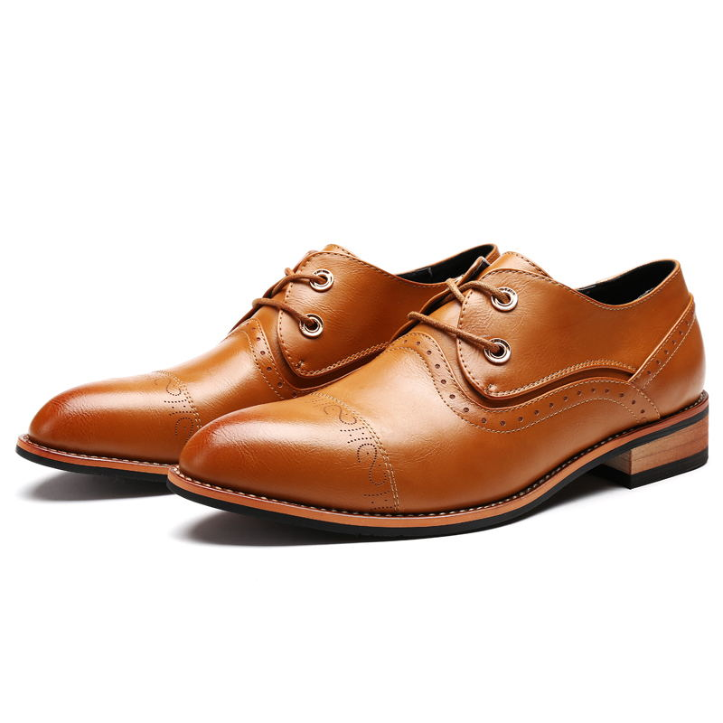 LAISUMK Men Shoes Famous Luxury Brand Leather Formal Office Classic Loafers Pointed Toe Dress Flats Footwear Brogue Oxford Shoes in Formal Shoes from Shoes