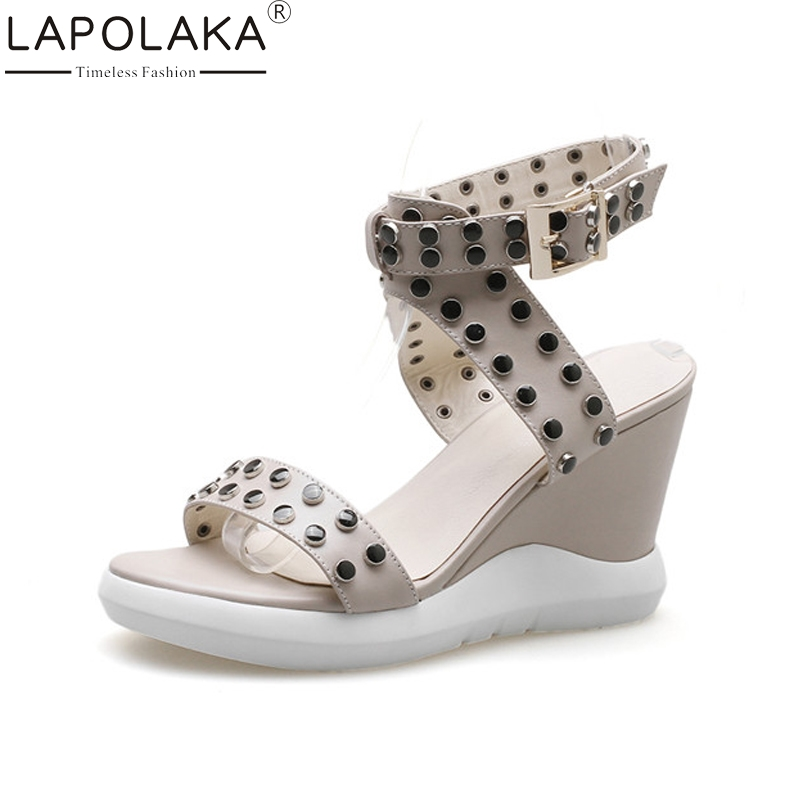 LAPOLAKA New women's Genuine Leather Ankle Strap Solid Wedges Rivet Platform Shoes Woman Casual Summer Sandals Size 34-39 ribetrini women hot sale cow leather low heel wedges summer casual shoes woman ankle strap open toe platform sandals size 34 39