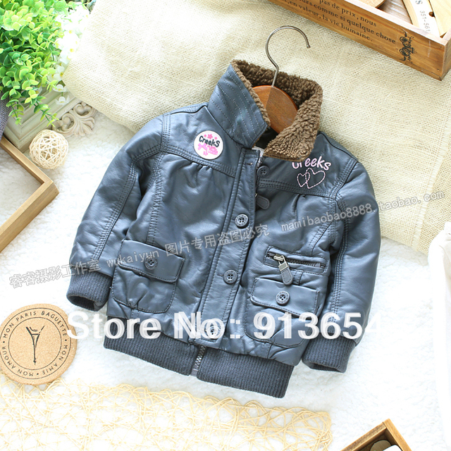 Free shipping Retail new 2014 fashion baby clothing kids winter coat girl Faux Leather jacket children warm outerwear