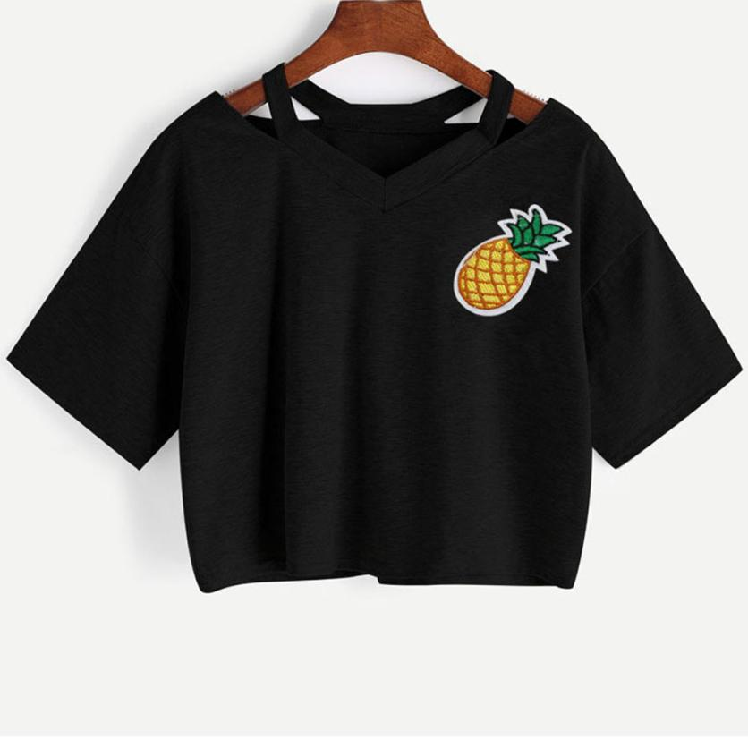 KANCOOLD tops high quality girl Casual Pineapple Printed Tank Short Sleeve Top Crop summer tops for women 2018 ap26