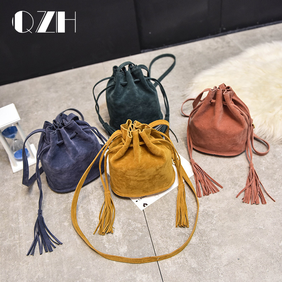 Women Small Bucket Bag Vintage Tassel Shoulder Bags Female Crossbody Bag Wallet Handbags Ladies baobao bag