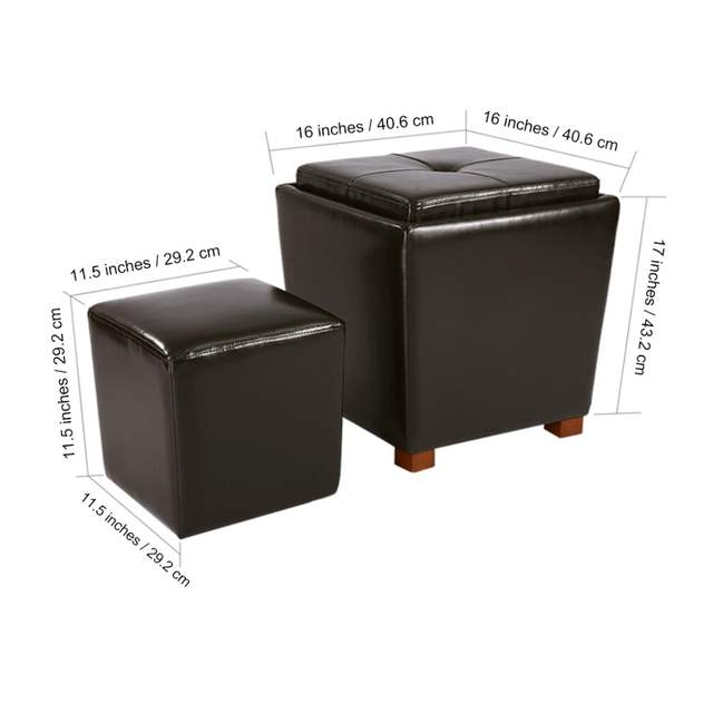 Marvelous Langria 2 Piece Nesting Faux Leather Ottoman Set With Legs Alphanode Cool Chair Designs And Ideas Alphanodeonline