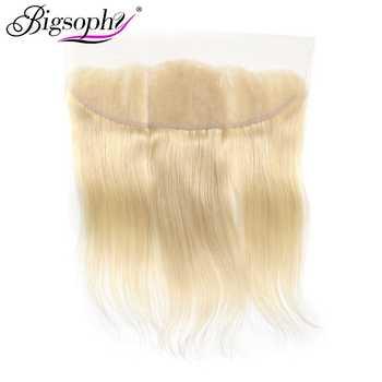 Bigsophy mongole vague droite 13x4 dentelle frontale fermeture oreille à oreille 613 couleur Blonde dentelle frontale fermeture Remy cheveux 10-20 pouces