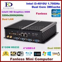 Безвентиляторный Mini ITX компьютер Intel Core i3 4010U мини настольных ПК, 2 HDMI 2 Gigabit LAN 6 com RS232, Wi-Fi, Окна 10 NC310