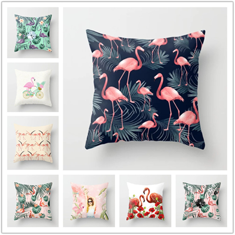 Pink Flamingo Flower Birds Cushion Cover Palm Leaf Cactus Home Office Car Sofa Decorative Pillow Case Decorative Pillows Cover in Cushion Cover from Home Garden