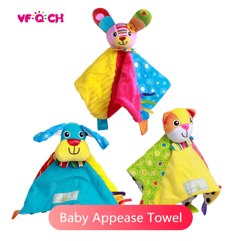 Newborn Baby Appease Hand Towel Soft Colorful Baby Plush Animal Toys Infant Educational Multifunctional Grasping Comforting Doll