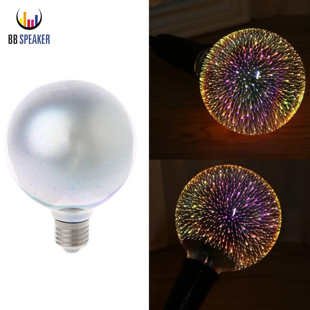Led E27 G95 3d Kembang Api Edison Bohlam 5 W 110 V 220 Kebaruan Lampu Bulb Philips 5w Watt 5watt Rgb Bintang Kepingan Salju Lampada Antik Dekor Untuk Rumah Lighting Ringan