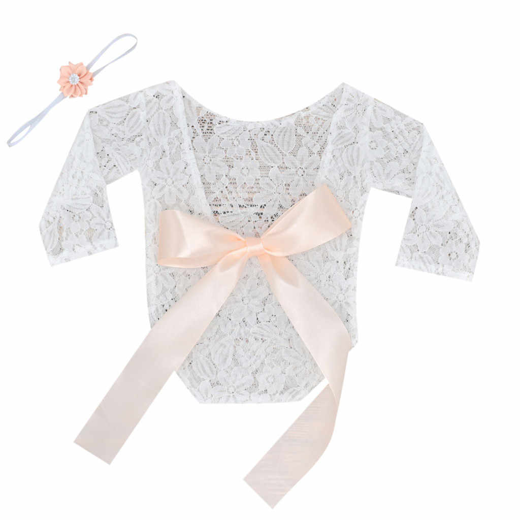 Newborn Baby Girl Boy Lace Crochet Photo Props Costume Photo Photography Prop Lace Stretch Wrap Bowknot Jumpsuit+Headband @27