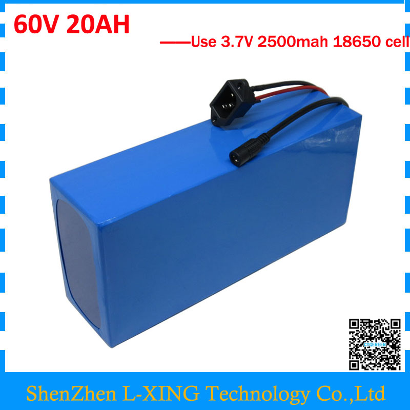 цена на EU US no tax 60V 1500W Lithium battery 60 V 20AH Electric bike battery 60V 20AH scooter battery use 3.7V 2500mah Cell 2A Charger