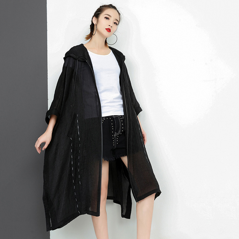 CHICEVER Black Long Hoodie Shirt Women Wrist Batwing Sleeve Irregular Split Feminine Blouse Zipper Loose Big Seize Summer Top