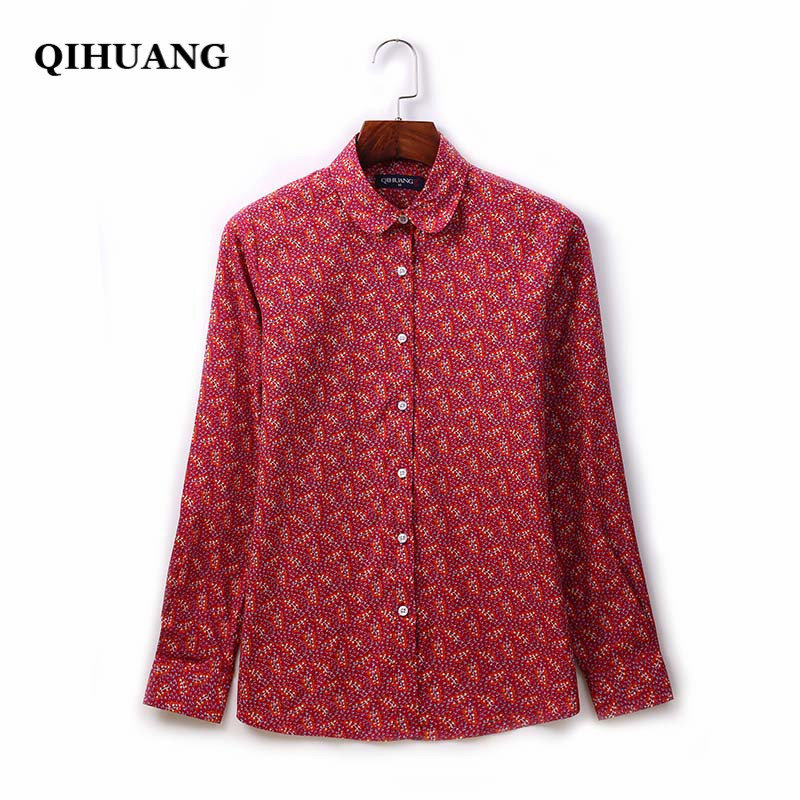 QIHUANG 2018 Floral Printed   Blouses     Shirt   Women Long Sleeve Cotton Vintage Slim   Shirts   Plus Size Women   Blouses   Work Wear   Shirts