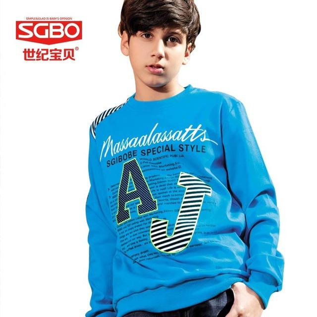 Sgbo carta marca adolescente camisetas Boy ropa 11 12 13 14 años de algodón ropa de niños deporte sudaderas imprimir niños ropa 6C3026
