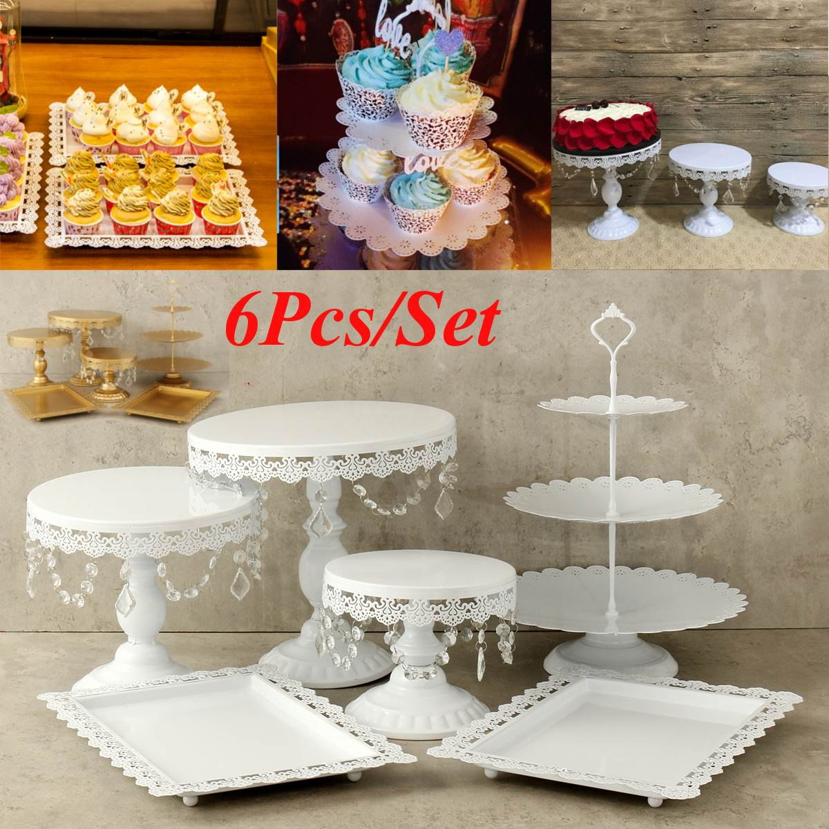 white wedding cake stands 6pcs set white gold pearl metal cake stand cupcake 1362
