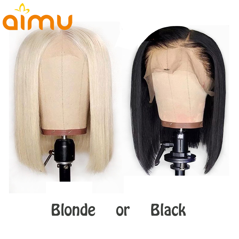 Blonde 613 And Black Clolor Blunt Cut Short Bob Wigs With Free Shipping Real Human Hair