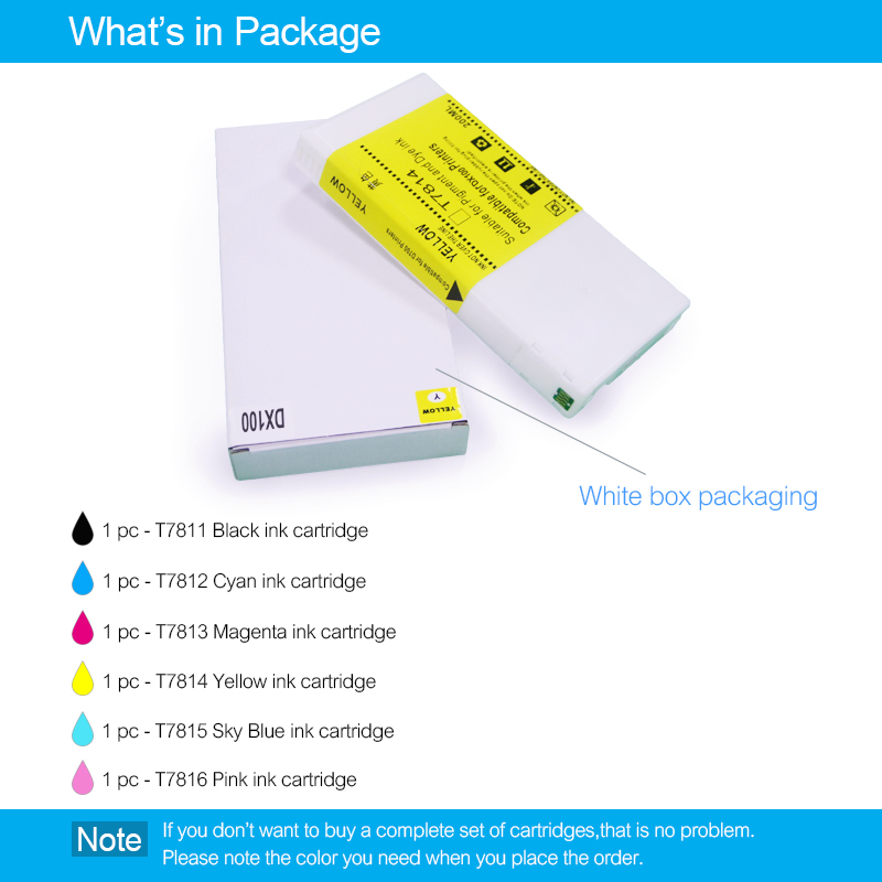 6Colors/Set T7811-T7816 Compatible Ink Cartridge Filled With Dye Ink For Fujifilm Frontier-S DX-100 Fuji DX100 Printer 200ML/PC