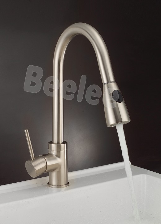 NEW Style Single Sink Kitchen Mixer Tap Brushed Nickel