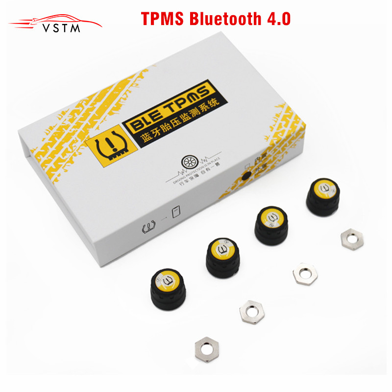 TPMS Tire Pressure Bluetooth 4.0 Tyre Monitoring System APP Display 4 Internal Sensors Support Android IOS