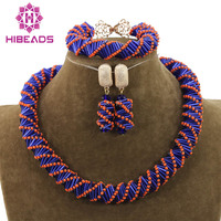 Unique Orange/Blue Mix Jewelry Beads Necklace Set Handmade Choker Costume Jewelry Set for Party Free Shipping WD989