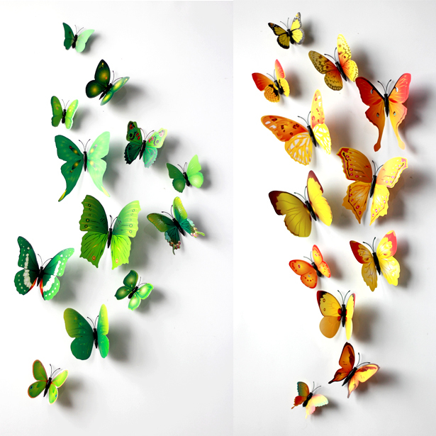 24Pcs/ Lot 3D Magnetic butterfly yellow and green stickers Wall DIY wall stickers home decoration  sc 1 st  AliExpress.com & 24Pcs/ Lot 3D Magnetic butterfly yellow and green stickers Wall DIY ...