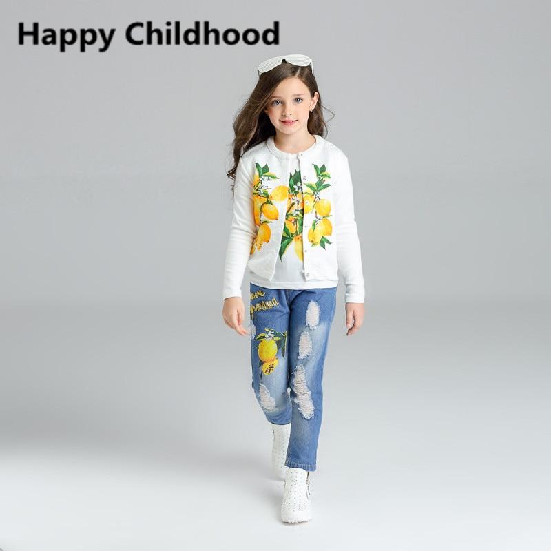 cac389689b Outono Moda Outono Padrão Limão Meninas Roupas 3 pcs Crianças conjuntos de Roupas  Infantis Roupas 2016 jaqueta de agasalho para as meninas