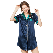 Home Ladies Sexy Casual Shirt Dress Letter Smile Print Silk Women