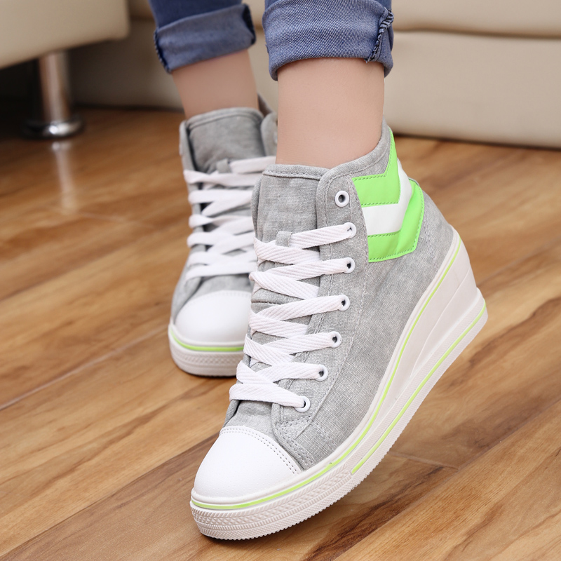 Spring summer wedges elevator canvas shoes height increasing 8cm women sneakers breathable lace-up casual polo - Led Shoes store