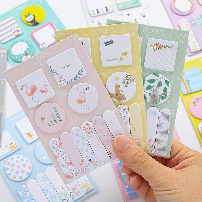 Cute Kawaii Animal Flamingo Memo Pad Cartoon Cat Post It Note For Kids Planner Stickers Notepad Korean School Office Stationery