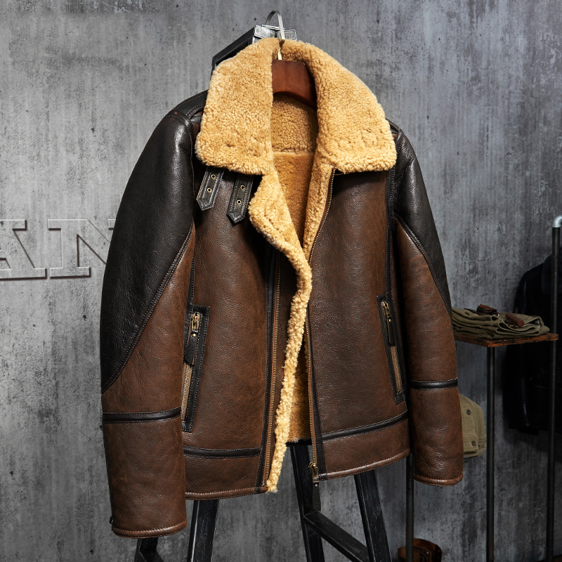 Mens Shearling Leather Jacket Light Brown B3 Jacket Mens Fur Coat Aviation Leathercraft Pilots Coat Original Flying Jacket