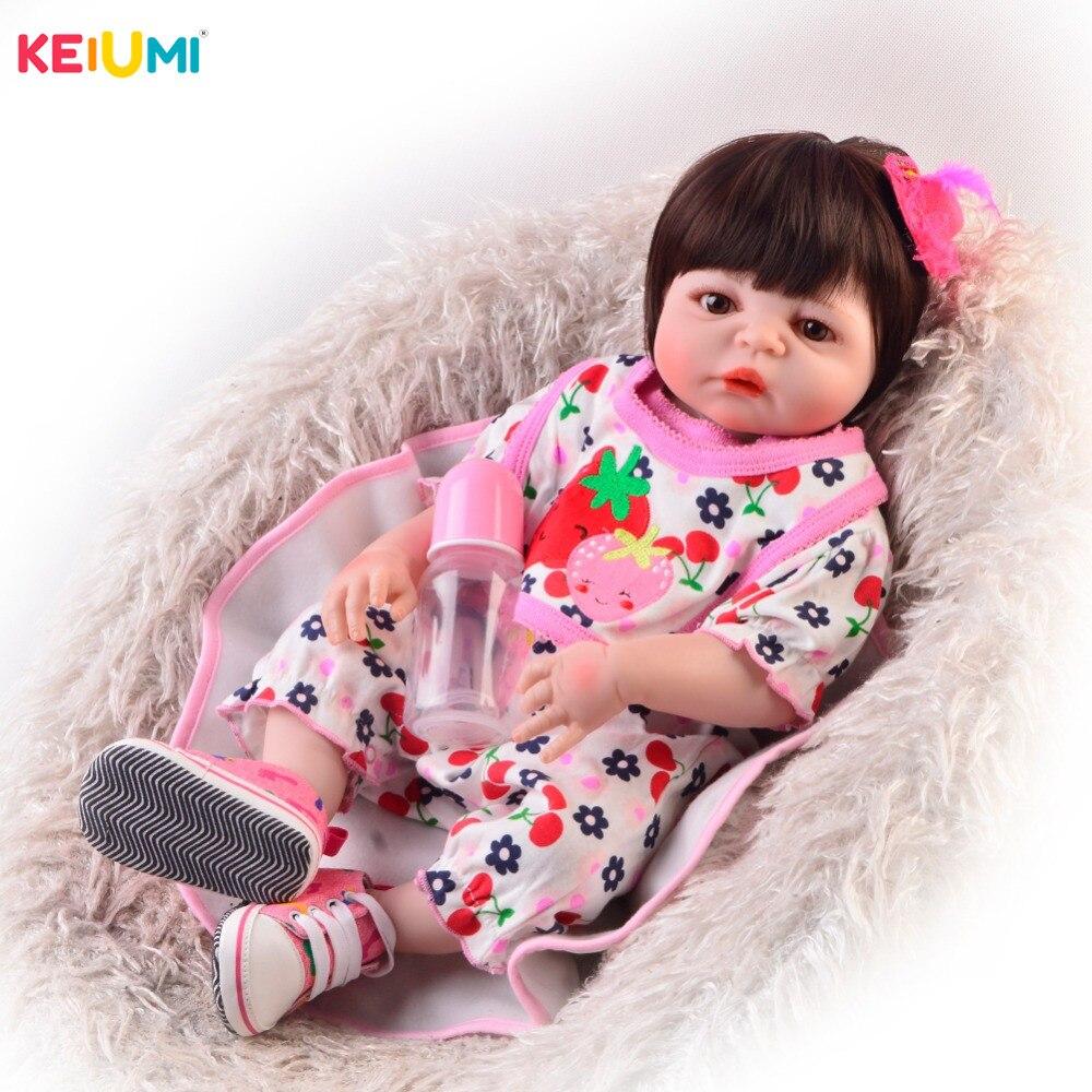 독특한 23 inch reborn baby girl dolls 전신 실리콘 비닐 귀여운 57 cm reborn dolls for kids 크리스마스 선물-에서인형부터 완구 & 취미 의  그룹 1