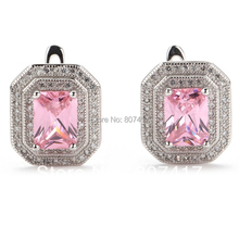 SHUNXUNZE Women/Men Crystal Earrings dropshipping charm Pink Cubic Zirconia jewelry Engagement Wedding sale Silver Plated R3241