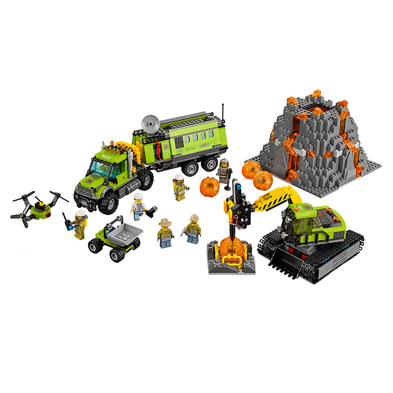 Lepin Bela 10641 City Volcano Exploration Base Geological Prospecting Building Blocks Bricks Action Figures Compatible Legoe Toy